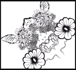 picture of drawing of flowers for poem about corners